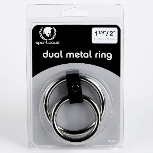 15-175-Dual-Penis-Ring-Silver-Metal-and-Black-Leather