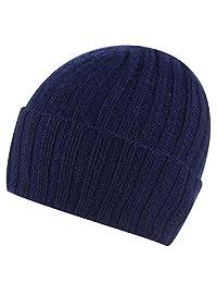 Pure Cashmere Broad Rib Beanie Hat Made in Scotland