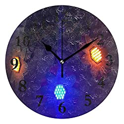 FunnyCustom Round Wall Clock Flower Power Acrylic Creative Decorative for Living Room/Kitchen/Bedroom/Family