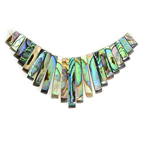 Justinstones Natural Abalone Shell Rectangle Graduated 21pcs Beads Set - Graduated Disc Beads