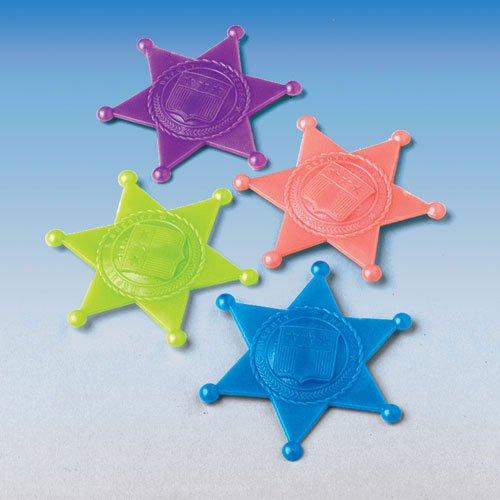 Set Of 24 Assorted Color Plastic Jumbo Sheriff ()
