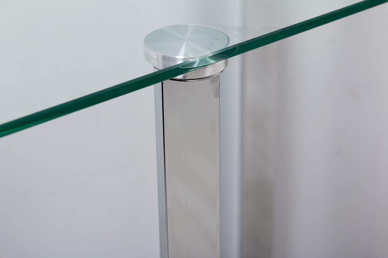 Adda Home Tempered Glass Tisch, Edelstahl, Silber, 100 x 35