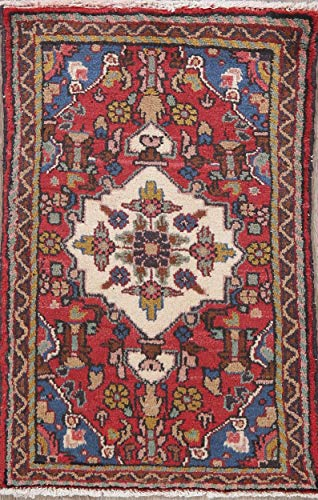 (Geometric Hamedan Persian Oriental Foyer Size Wool Hand-Knotted Area Rug 2X3 Red )