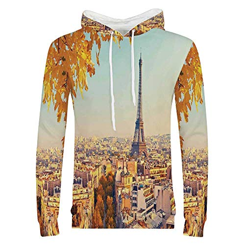 Eiffel Tower Stylish Hoodie,Eiffel Tower at Sunset Paris France Autumn Leaves Sunlights Evening View Picture Sweaters for Men & Boys,Small ()