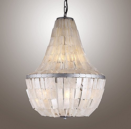 18 Inches Pendant Chandelier Rectangular Coastal Capiz Shells Teenage Princess Kids Room Ceiling Light Fixture Aged Silver -