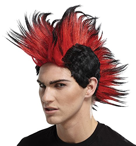 UHC Adult Double Mohawk Punk Rocker 80's Wig Halloween Costume Accessory (RED/BLK) (Halloween Punk Rocker Costumes)