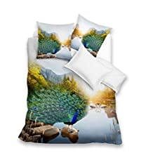 BELOMODA 5D Exclusive Peacock Theme Printed Poly Cotton Double Bedsheet With 2 Pillow Covers-Queen Size, Multicolor
