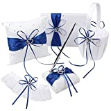 KANECH 5pcs Sets-Blue Satin-Wedding Flower Girl Basket and Ring Bearer Pillow Set (Ring Pillow + Flower Girl Basket + Wedding Guest Book +Pen Set + Garter Cover)