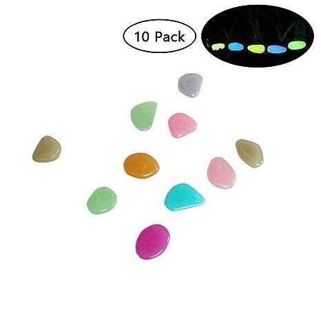 KOBWA - 10 Piedras de Colores Que Brillan en la Oscuridad para jardín, jardín,