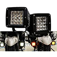 Dual Color White Amber LED POD light Changing Flasher Strobe Optic Lens Emergency Driving Fog Spot Light for Offroad Truck SUV ATV Motorcycle Boat Marine Agricultural and Heavy Equipment Vehicle