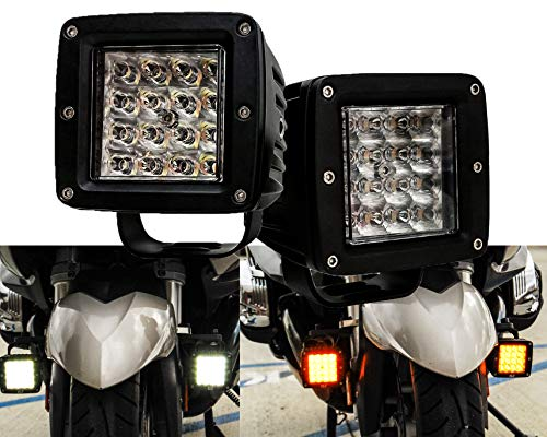 (Dual Color White Amber LED POD light Changing Flasher Strobe Optic Lens Emergency Driving Fog Spot Light for Offroad Truck SUV ATV Motorcycle Boat Marine Agricultural and Heavy Equipment Vehicle)