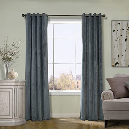COFTY Super Soft Solid Matt Velvet Curtain Drapes Natural Grey 100Wx120L Inch 1 Panel-doublewide
