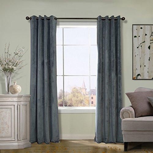 Cheap COFTY Super Soft Solid Matt Velvet Curtain Drapes Blackout Natural Grey 50Wx96L Inch(set of 2 Panels) – Nickle Grommet