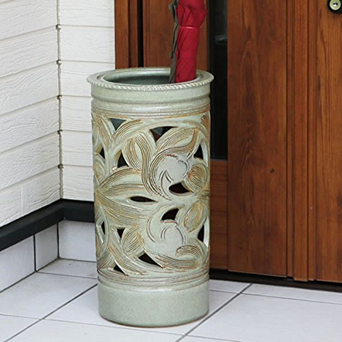 信楽焼 緑唐草透かし彫り傘立て しがらき焼 笠立て 陶器 おしゃれ kt-0197 (緑) B01N5N54Q7 緑 緑