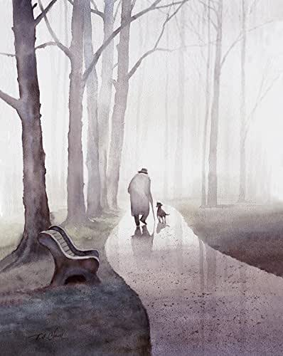 Amazon Com An Old Man And His Dog Walking In The Park
