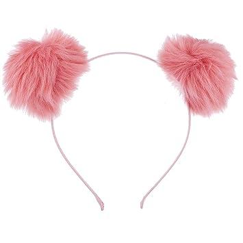 92abf682878 Amazon.com  Lux Accessories Blush Faux Fur Pom Pom Ball Cat Ear ...
