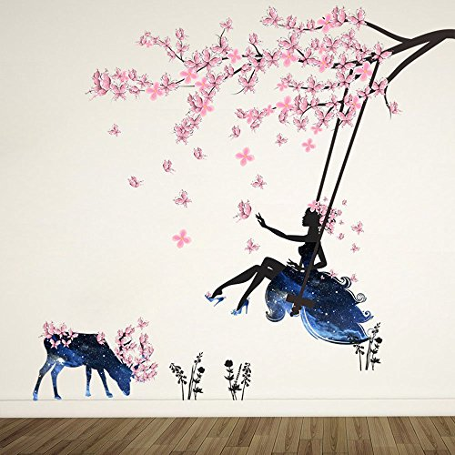 Girl on Tree Swing & Moose Silhouette Wall Art Stickers With Pink Butterflies Decorative Removable DIY Vinyl Wall Decals Living Room, Bedroom Mural