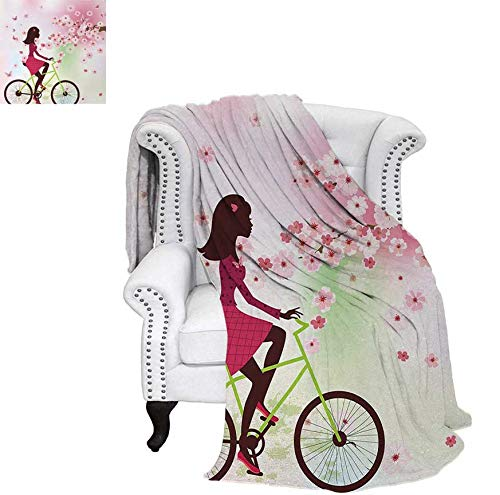 Warm Microfiber All Season Blanket for Bed or Couch Girl on Bike Passing by Cherry Trees Blooms Spring Nature Seasonal Illustration Throw Blanket 50