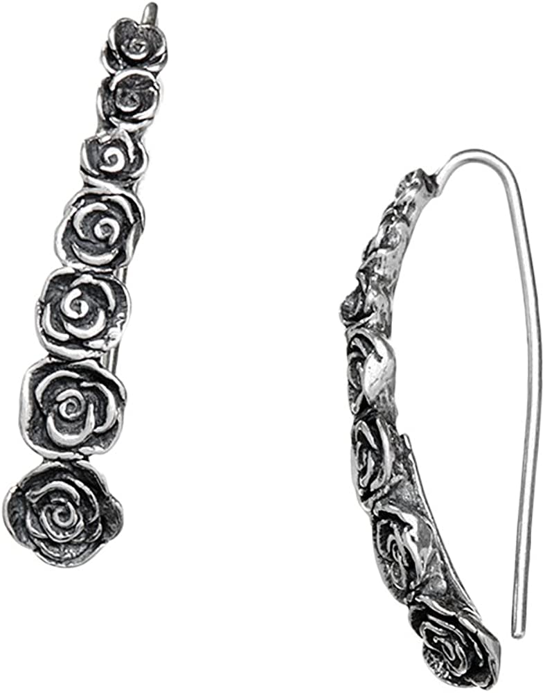 Paz Creations 925 Sterling Silver Elongated Rose Earrings, Made in Israel