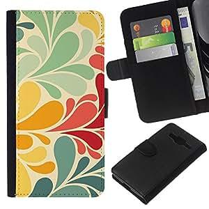 Stuss Case / Funda Carcasa PU de Cuero - Retro R¨²stico floral en colores pastel Wallpaper - Samsung Galaxy Core Prime