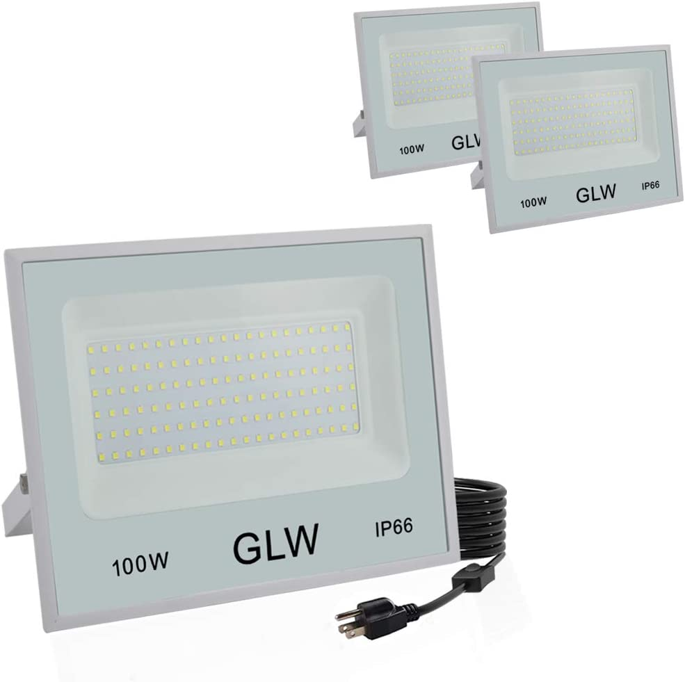GLW 100W LED Flood Light Outdoor IP66 Waterproof Super Bright Security Lights,6000k 10000LM Work Light Daylight White Outdoor Spotlight for Yard,Garage,Garden,Playground and More 3 Pack