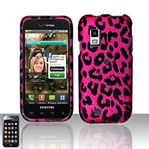 HOT PINK LEOPARD Hard Rubber Feel Plastic Design Case for Samsung Fascinate i500 / Mesmerize (U.S. Cellular) / Showcase (Alltel) + Screen Protector + Car Charger [In Twisted Tech Retail Packaging]