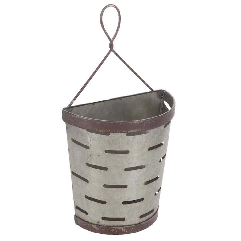 Galvanized Vented Tin Olive Bucket Wall Pocket with Hanger