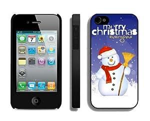 Custom-ized Design Christmas snowman iPhone 4 4S Case 16 Black
