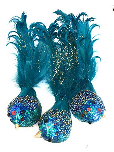 Pier 1 Imports Christmas Tree Ornament Clip Birds Set of 3 Turquoise Beaded ()