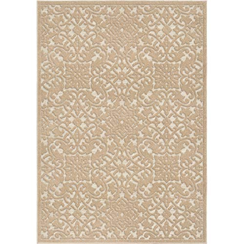 Orian Rugs Boucle Collection 397161 Indoor/Outdoor High-Low Biscay Area Rug, 9' x 13', Driftwood Beige from Orian Rugs