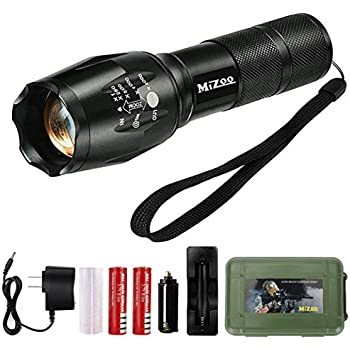 MIZOO LED Flashlight Mini Portable Torch Adjustable Focus, Super Bright - Sturdy and Durable Aluminium Structures - Water Resistant Lighting Lamp Torch For Hiking, Camping, Emergency