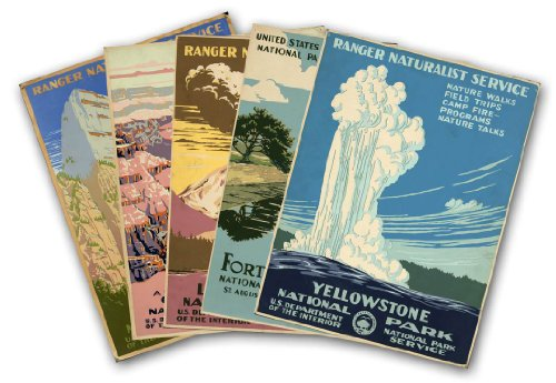 Set Of Five U S  National Park Service Vintage Travel Prints Circa 1938   Each Measure 24  High X 18  Wide  610Mm High X 458Mm Wide