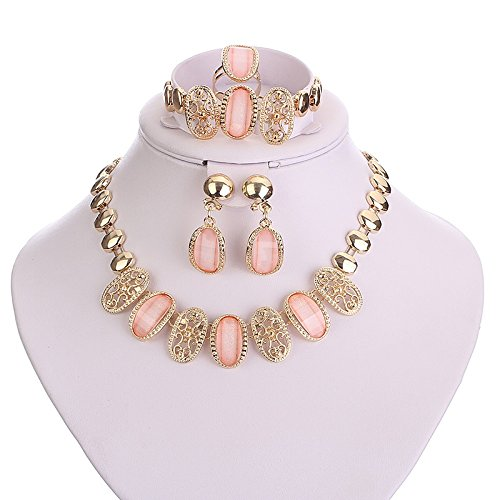 Wedding Accessories Jewelry Sets Women Bride Crystal Cz Diamond African Beads Party Gold Plated Necklace Earrings Wedding Dress   Pink