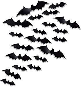 Antner 60 Pcs Halloween Party Supplies PVC 3D Bats Removable Decals Stickers Window Scary Bats Decors, Black