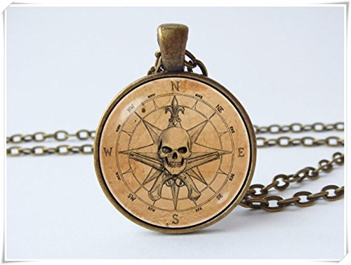 Pirate Skull Cameo Necklace (Pirate compass necklace Travel gift Pirate necklace Voyage)