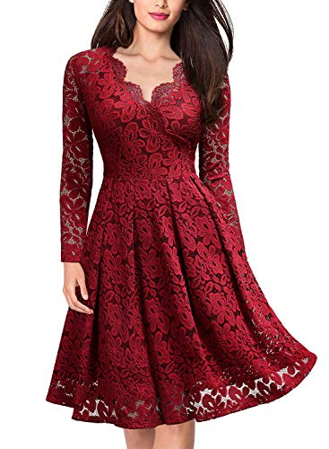 MISSMAY Women's Vintage Floral Lace V-Neck Cocktail Formal Swing Dress, Medium, Red