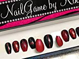 Red and Black Red Bottoms Hand Designed Press On Nails