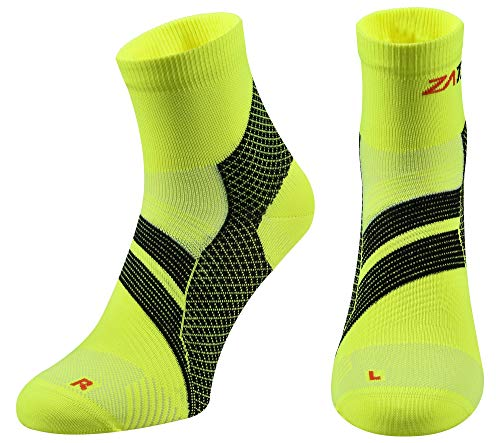 ZaTech Plantar Fasciitis Sock, Compression Socks. Heel, Ankle & Arch Support. (Electric Yellow/Black, Large)