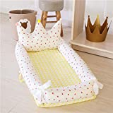 Baby Bassinet for Bed,Crown Style 100% Cotton Portable Multi-Functional Baby Lounger for Newborn,Breathable & Hypoallergenic Co-Sleeping Baby Crib for Bedroom/Travel Strawberry