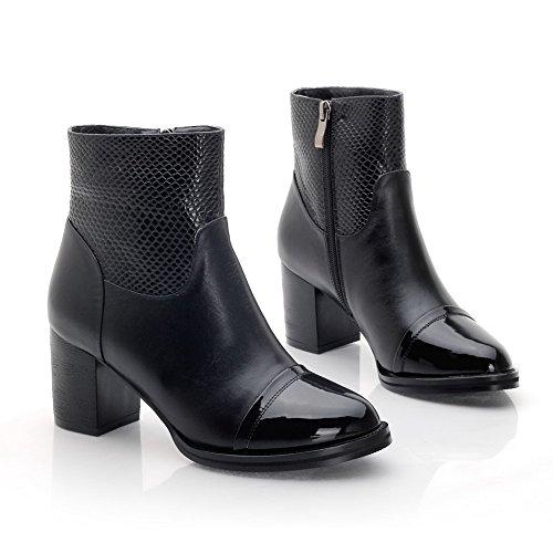 Allhqfashion Womens Pointed Closed Teen Blend Materialen Low-top Solide Laarzen Zwart