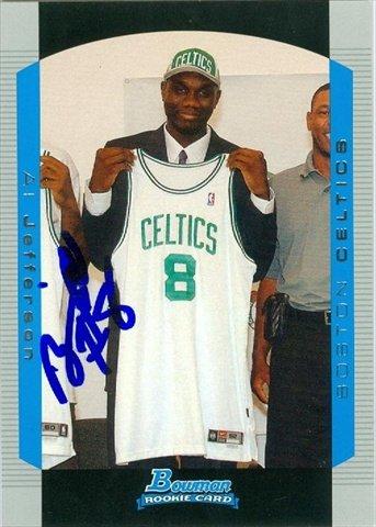 Autograph Warehouse 44786 Al Jefferson Autographed Basketball Card Boston Celtics 2004 Bowman Rookie No .115