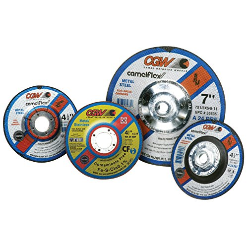 Depressed Center Wheel, 4 1/2 in Dia, 1/8 in Thick, 5/8 in Arbor, Aluminum (14 Pack) by CGW Abrasives