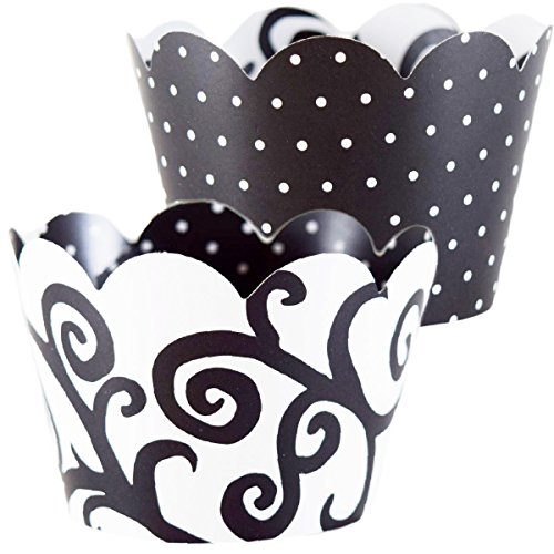 Black and White Cupcake Wrappers Party Supplies, Bachelorette Party Decoration, 36 Elegant Filigree Wedding Cup Cake Grease Proof Liners, Adult Birthday, Polka Dot, Damask, Confetti Couture