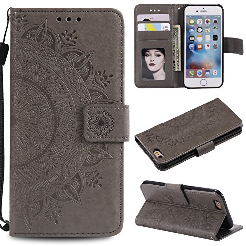 Floral Wallet Case for iPhone 6S 4.7'',Strap Flip Case for iPhone 6 4.7'',Leecase Embossed Totem Flower Design Pu Leather Bookstyle Stand Flip Case for iPhone 6S/6 4.7''-Grey by Leecase