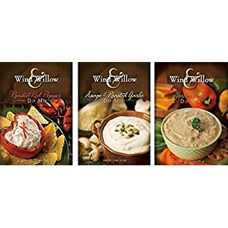 Wind & Willow Dip Mix Variety Pack - Asiago & Roasted Garlic, Garden Party, and Roasted Red Pepper
