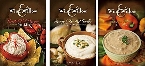 Wind & Willow Dip Mix Variety Pack - Asiago & Roasted Garlic, Garden Party, and Roasted Red (Roasted Garlic Dip)