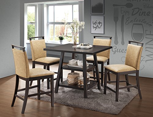 Kings Brand Aloe 5-Piece Cappuccino Wood Counter-Height Dining Set, Table with 4 Coffee Upholstered Chairs