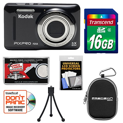 Kodak PixPro Friendly Zoom FZ53 Digital Camera (Black) with 16GB Card + Case + Tripod + Kit