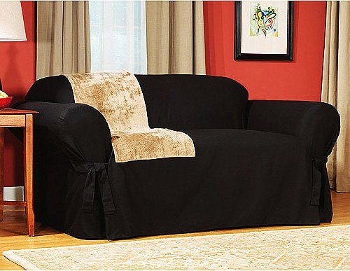 Soft Micro Suede Solid BLACK Loveseat Slipcover - 1 Piece Couch Cover