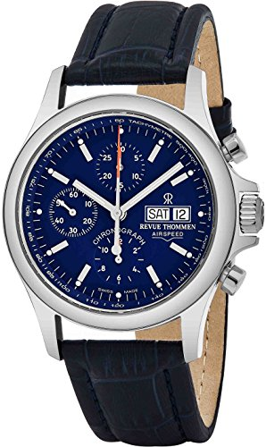 Revue Thommen Airspeed Day Date Automatic Watch Mens - Stainless Steel Sapphire Crystal Waterproof Watch 42mm Analog Blue Face - Swiss Automatic Chronograph Watches for Men Leather Band 17081.6535